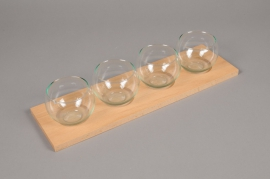 A033R4 Pack of 4 glass vase sphere on wood H8cm