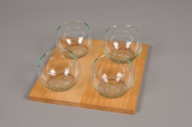 A031R4 Pack of 4 glass vase sphere on wood H8cm