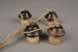 Set de 4 champignons en bois H5cm