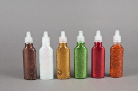 Pack of 6 matching glitter glues 35ml