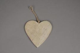 SV04U7 Set of 10 wooden heart hanging D14cm