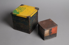 A009A0 Set of 2 recycled steel boxes 16cm x 16cm H16cm
