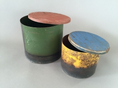 A010A0 Set of 2 recycled steel boxes D16cm H15cm