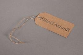 Set of 20 kraft labels Félicitations 5,5X11cm