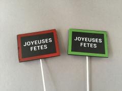 X003JL Set of 24 slate picks ''JOYEUSES FETES'' 7.5 x 5.5cm
