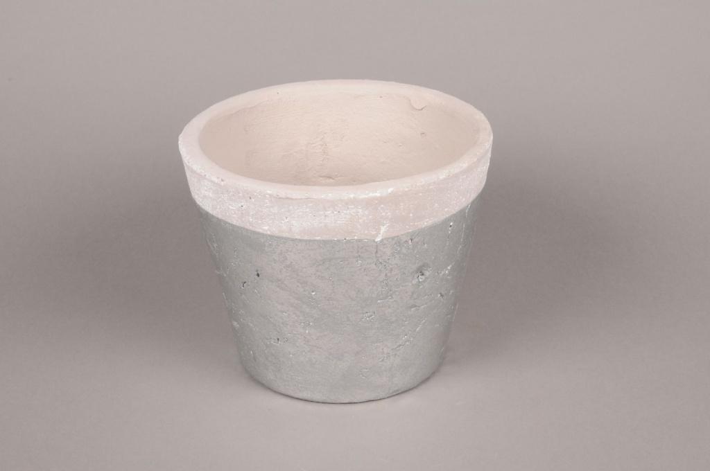 A021H8 Silver ceramic planter D19cm H15cm