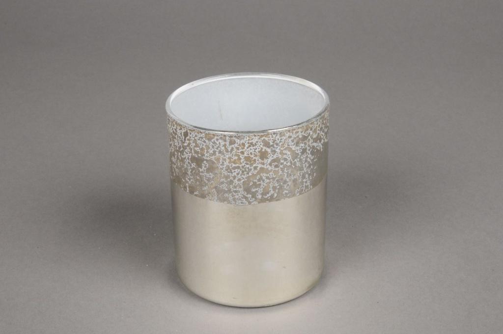 A019K0 Silver glass jar D7.5cm H8.5cm