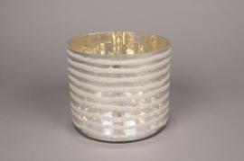 A001I5 Vase en verre argent or D18cm H15cm