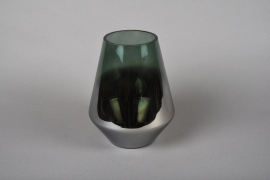 Smoked glass vase silver and green D17cm H21cm