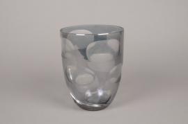 A005C9 Smoked grey glass vase D16cm H21cm