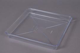 Soucoupe en plastique transparente 18x18cm