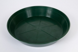 Green plastic saucer D14cm