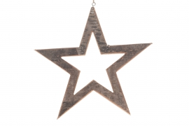 X021U7 Star hollowed in natural wood D30cm