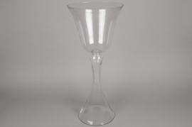 A070K9 Vase en verre sur pied D25.5cm H63.5cm