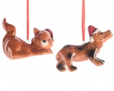 X481KI Ceramic christmas pets decoration H7cm