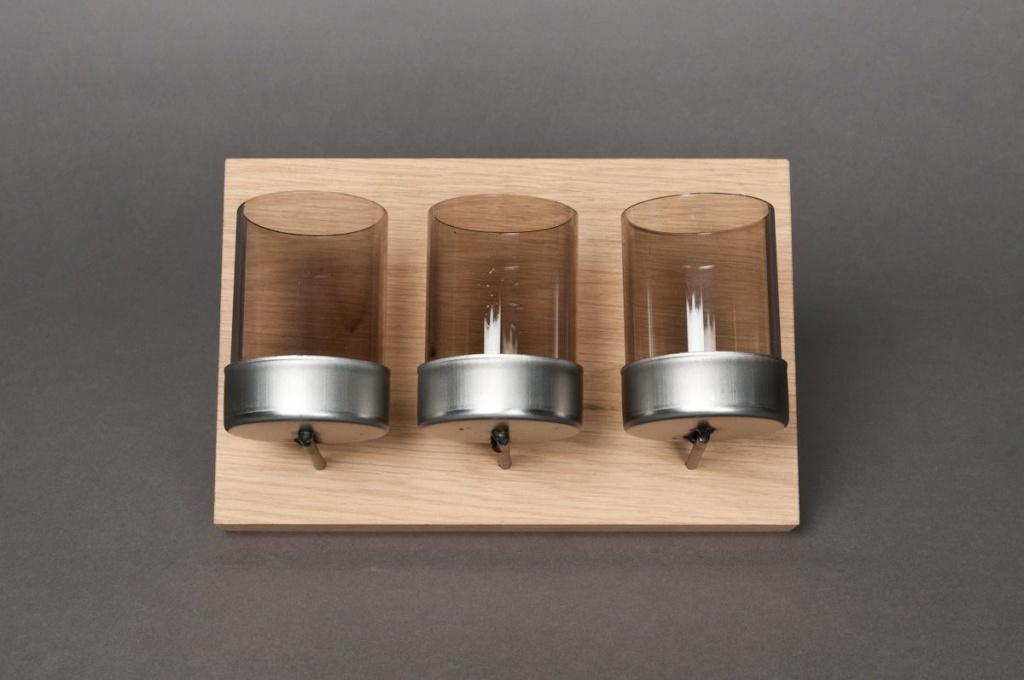 Support en bois + 3 photophores en verre L15cm