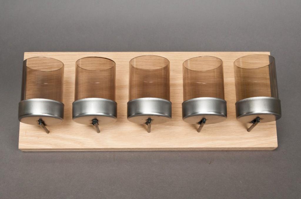 Support en bois + 5 photophores verre L20cm
