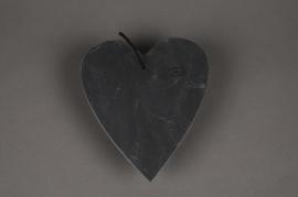 SV01J5 Coeur ardoise à suspendre D20cm