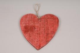 SV03U7 Set of 5 red wooden heart hanging D25cm