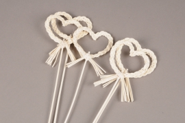 SV05PH Set of 5 picks white rattan heart D8cm