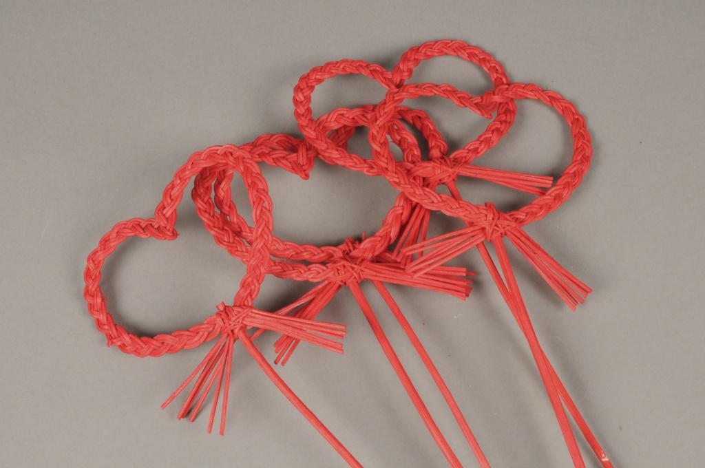 SV06PH Sachet 5 pics coeur osier rouge D8cm