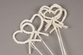 SV08PH Set of 5 picks white rattan heart D12cm