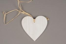 SV09PH Set of 6 white wooden heart hanging D12cm