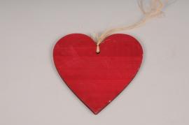 SV11PH Red wooden heart ornament D20cm
