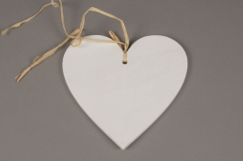 SV12PH Set of 3 white wooden heart hanging D20cm