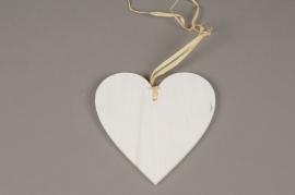 SV13PH Set de 6 coeurs blanc en bois D15cm