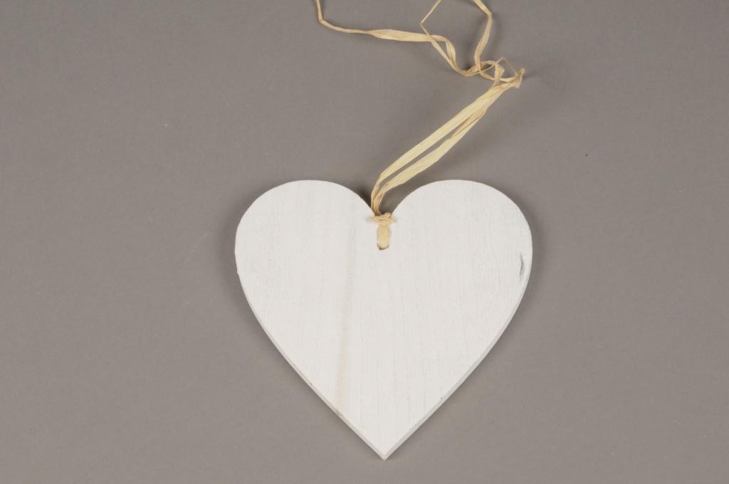 SV13PH Set of 6 white wooden heart hanging D15cm
