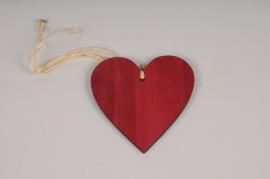 SV14PH Set de 6 coeurs en bois rouge D15cm