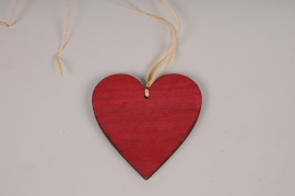 SV15PH Red wooden heart ornament D10cm