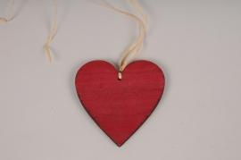 SV15PH Set de 6 coeurs en bois rouge D10cm