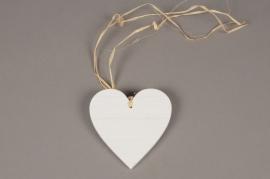 SV16PH Set of 6 white wooden heart hanging D10cm