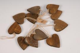 SV22U7 Set of 10 wooden heart D7cm