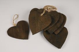 SV23U7 Set de 10 coeurs en bois D15cm