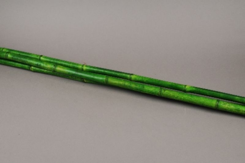 t153ab Set de 3 bambous vert D3cm H180cm