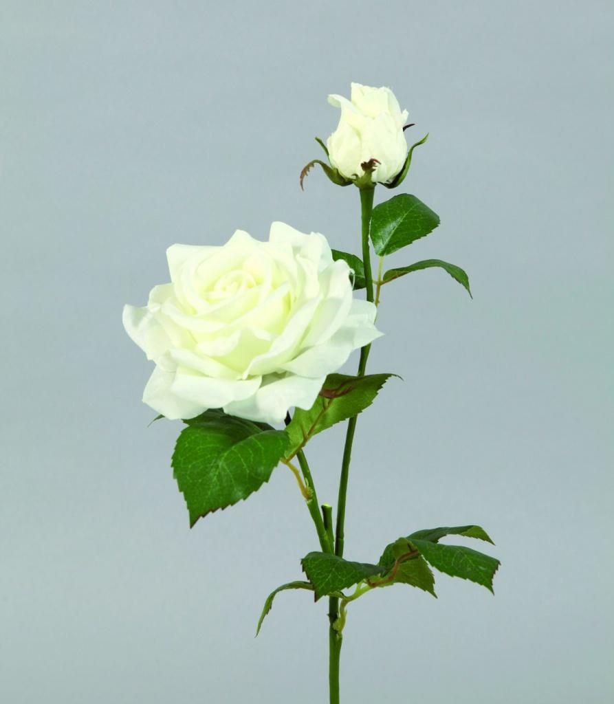 Tige 2 roses artificielles blanches h52cm for Envoyer des roses