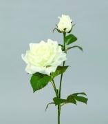 x202fp Tige 2 roses artificielles blanches H52cm
