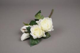 x510jp Tige 4 roses artificielles crème H40cm