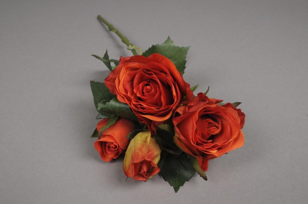 Tige 4 roses artificielles orange h40cm for Envoyer des roses