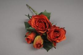 x512jp Tige 4 roses artificielles orange H40cm
