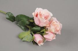 x511jp Tige 4 roses artificielles rose H40cm