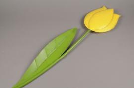 A005AK Tulipe métal jaune D11cm H57cm
