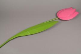 A004AK Tulipe métal rose D11cm H57cm
