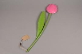 A007AK Tulipe métal rose D20cm H100cm