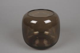 B219W3 Vase arrondi en verre fumé ambre D17cm H16cm