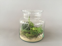 x040ee Vase avec succulentes artificielles vert H20cm