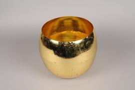 A000E6 Vase boule en métal or D26cm H23cm